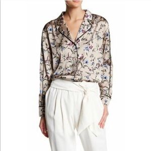 Anthropologie RO&DE Silky Floral Pj Style Blouse